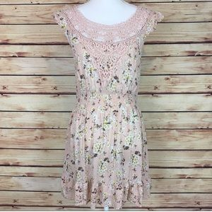 Pink Floral Crocheted Dress